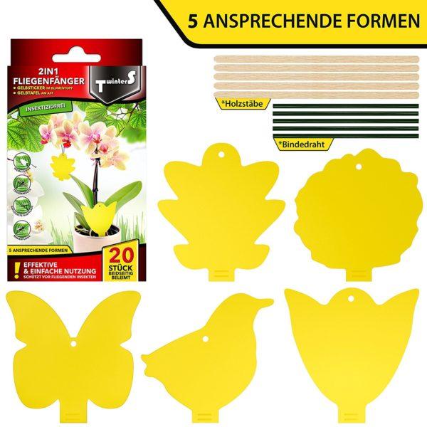 2in1 Fliegenfallen - Gelbsticker, Gelbtafeln, Gelbstecker, dekorative Leimfalle gegen Trauermücken - Formen